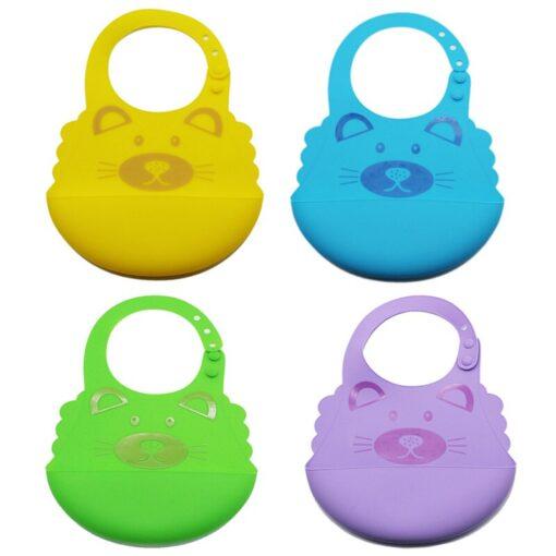 Baby Boy Girl Soft Silicone Cartoon Bibs Buckle Foldable Adjustable Bibs Rice Pocket Infant Burp Cloths