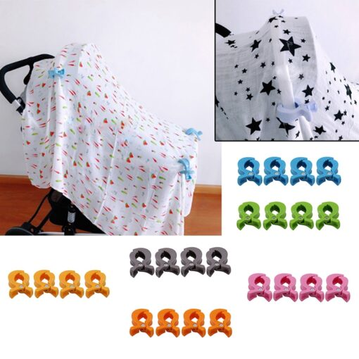 Baby Car Seat Accessories Toy 4pcs Set Lamp Pram Stroller Peg To Hook Cover Blanket Clips 1