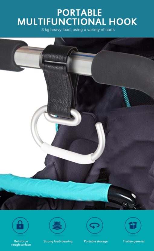 Baby Carriage Hook Trolley Accessories Aluminum Alloy Strong Hook Shopping Pram Hook Prop Hanger Baby Stroller 2