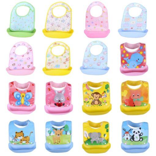 Baby Cartoon Cute Detachable Bibs Kids Boys Girls Waterproof Feeding Apron Saliva Towel Bib Smock Baby 4