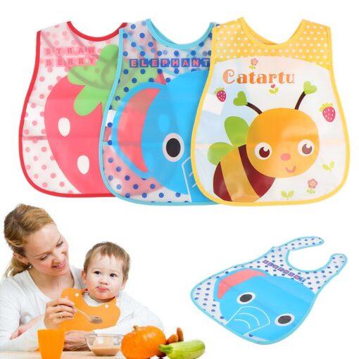 Baby Cartoon Feeding Turn Bibs Cute Kid Lunch Pattern Towel Bibs Waterproof Baby Bibs EVA Soft 1