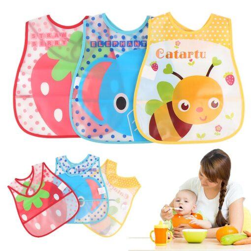 Baby Cartoon Feeding Turn Bibs Cute Kid Lunch Pattern Towel Bibs Waterproof Baby Bibs EVA Soft