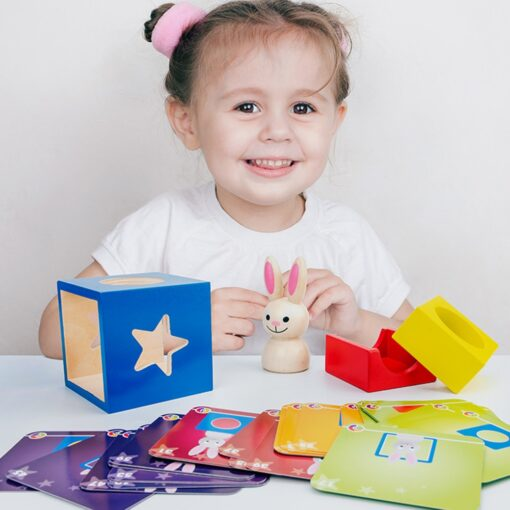 Baby Creative Magic Box Toy with Cognitive Card Peekaboo Toy Rabbit Boo Development Educational Gift for 3