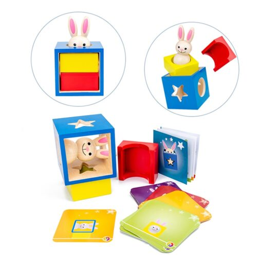 Baby Creative Magic Box Toy with Cognitive Card Peekaboo Toy Rabbit Boo Development Educational Gift for 4