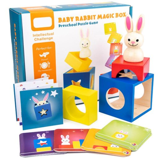 Baby Creative Magic Box Toy with Cognitive Card Peekaboo Toy Rabbit Boo Development Educational Gift for