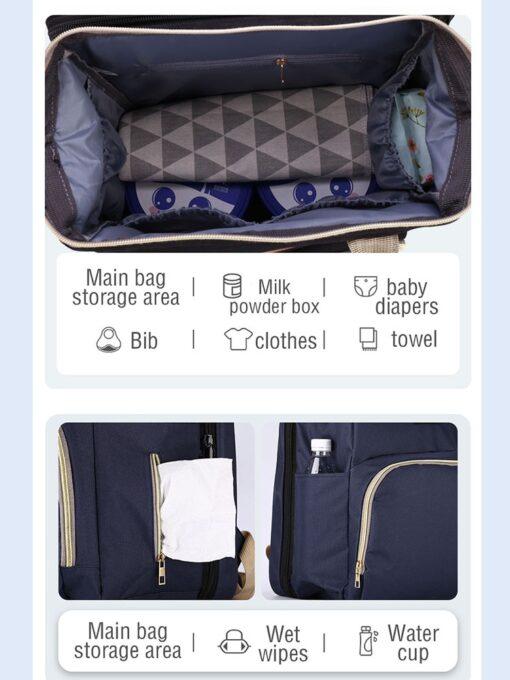Baby Diaper Bag Bed Backpack For Mom Maternity Bag For Stroller Nappy Bag Large Capacity Nursing 2
