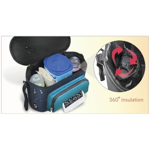 Baby Diaper Bag Stroller Organizer Waterproof Nappy Changing Bag Large Capacity Pram Thermal Insulated Bottle Bag 5