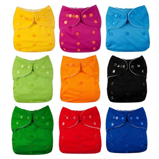 Baby Diapers Washable Reusable Nappies Cloth Diaper Waterproof For Newborn Baby Diaper Pocket Newborn Baby Solid 1