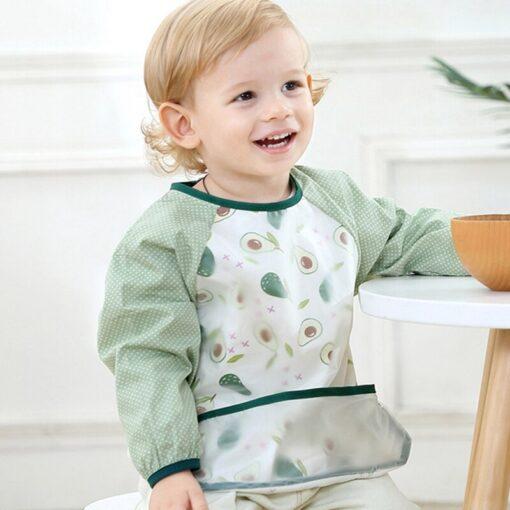 Baby Feeding Bibs Cute Cartoon Baby Waterproof Sleeved Bibs Infant Eating Children Long Sleeve Apron Baby 1