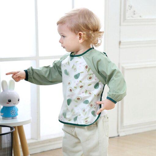 Baby Feeding Bibs Cute Cartoon Baby Waterproof Sleeved Bibs Infant Eating Children Long Sleeve Apron Baby 5