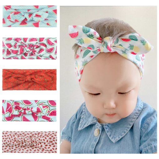 Baby Fruit Headband Hair Band Accessories Printed Baby Girls Bow Head Wrap Accessories Headwears d3 4