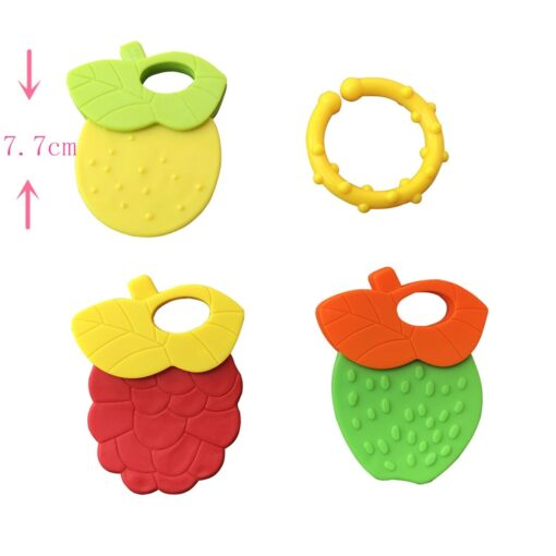 Baby Fruit Style Soft Rubber Rattle Teether Toy Newborn Chews Food Grade Silicone Teethers Infant Training 1