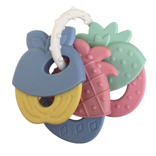 Baby Fruit Style Soft Rubber Rattle Teether Toy Newborn Chews Food Grade Silicone Teethers Infant Training 2