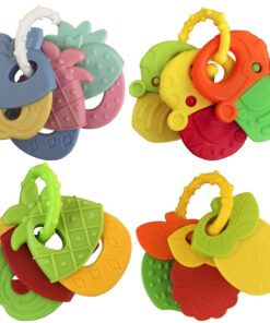 Baby Fruit Style Soft Rubber Rattle Teether Toy Newborn Chews Food Grade Silicone Teethers Infant Training