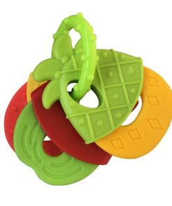 Baby Fruit Style Soft Rubber Rattle Teether Toy Newborn Chews Food Grade Silicone Teethers Infant Training 3