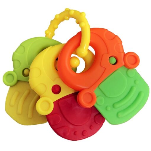 Baby Fruit Style Soft Rubber Rattle Teether Toy Newborn Chews Food Grade Silicone Teethers Infant Training 4