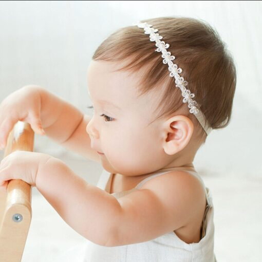 Baby Girls Princess Lace Flowers Diamond Pearl Headbands Elastic Hairbands Elastic Hair Bands baby Wide Turban 1
