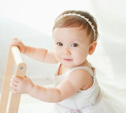 Baby Girls Princess Lace Flowers Diamond Pearl Headbands Elastic Hairbands Elastic Hair Bands baby Wide Turban 2