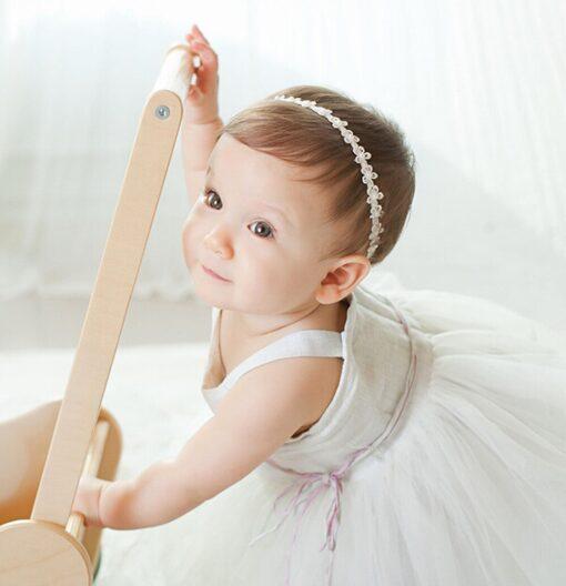 Baby Girls Princess Lace Flowers Diamond Pearl Headbands Elastic Hairbands Elastic Hair Bands baby Wide Turban