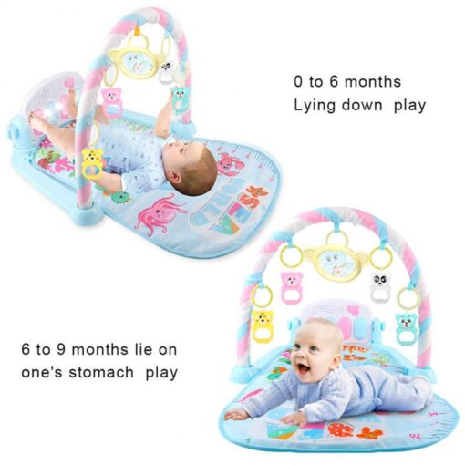 Baby Gym Carpet Play Mat Music Lights Puzzle Mat With Piano Keyboard Educational Rack Toys Infant 2