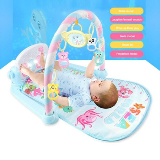 Baby Gym Carpet Play Mat Music Lights Puzzle Mat With Piano Keyboard Educational Rack Toys Infant