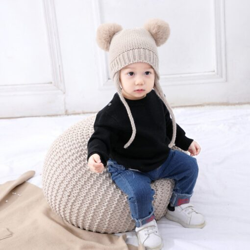 Baby Hat 1 3 Years Old Boy And Girl Hat Child Winter Hat Braid Hair Ball 1