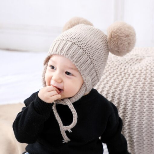 Baby Hat 1 3 Years Old Boy And Girl Hat Child Winter Hat Braid Hair Ball 2