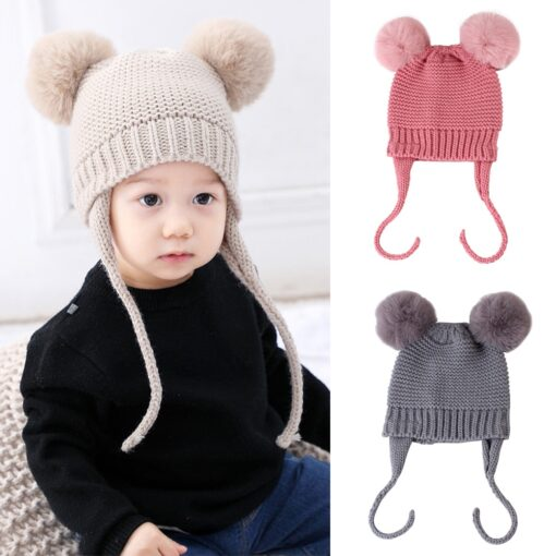 Baby Hat 1 3 Years Old Boy And Girl Hat Child Winter Hat Braid Hair Ball