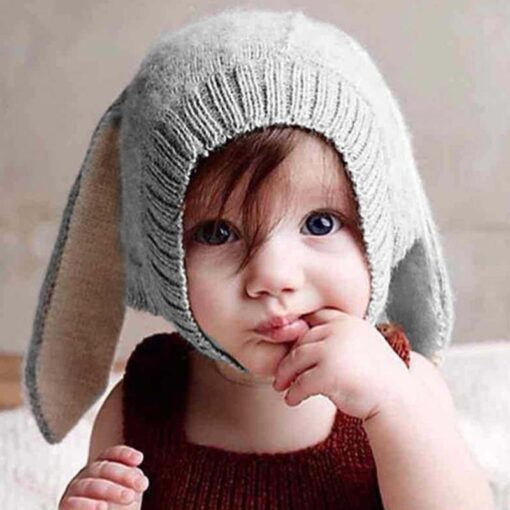 Baby Hat Autumn Winter Toddler Knitted Hats For Kids Girls Rabbit Long Ear Hat Baby Bunny