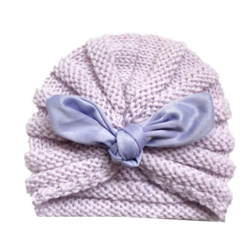 Baby Hats Knitted Winter Solid Print Bowknot Elastic Baby Beanie Turban Newborn Infant Colorfull Hats Cute 1