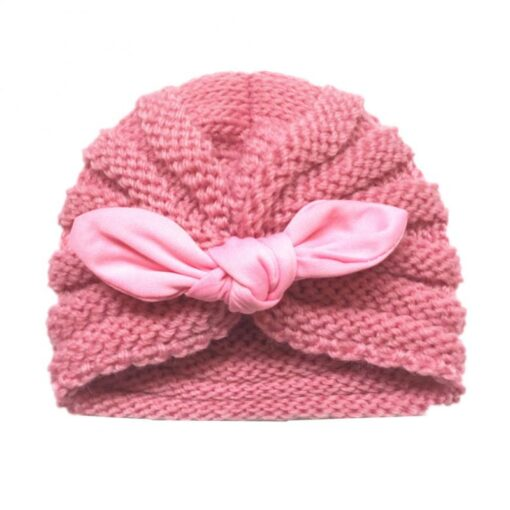 Baby Hats Knitted Winter Solid Print Bowknot Elastic Baby Beanie Turban Newborn Infant Colorfull Hats Cute 2