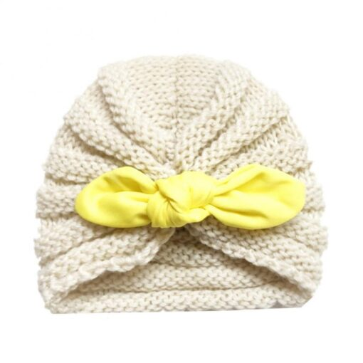 Baby Hats Knitted Winter Solid Print Bowknot Elastic Baby Beanie Turban Newborn Infant Colorfull Hats Cute 3