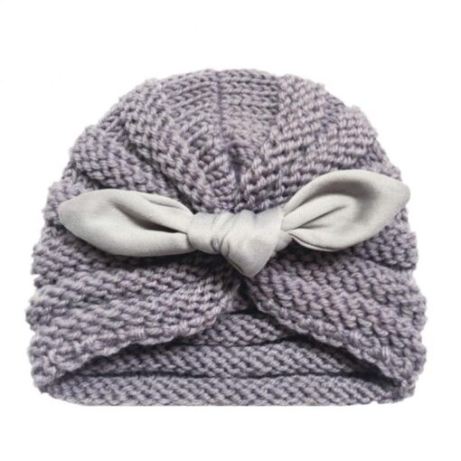 Baby Hats Knitted Winter Solid Print Bowknot Elastic Baby Beanie Turban Newborn Infant Colorfull Hats Cute 4