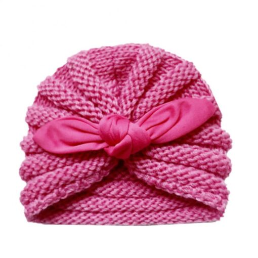 Baby Hats Knitted Winter Solid Print Bowknot Elastic Baby Beanie Turban Newborn Infant Colorfull Hats Cute 5