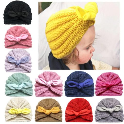 Baby Hats Knitted Winter Solid Print Bowknot Elastic Baby Beanie Turban Newborn Infant Colorfull Hats Cute