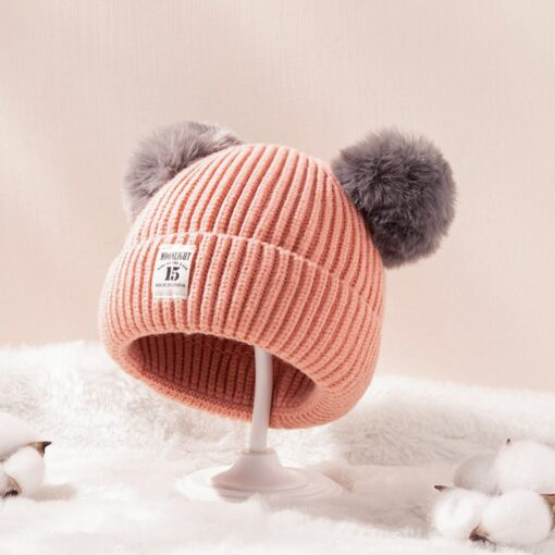 Baby Infant Hat Kids Beanie Pom Pom For Boys Girls Cap Cotton Knitted Wool Hemming Winter 11