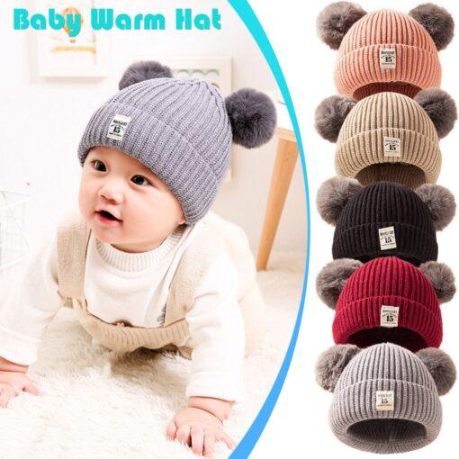 Baby Infant Hat Kids Beanie Pom Pom For Boys Girls Cap Cotton Knitted Wool Hemming Winter 6