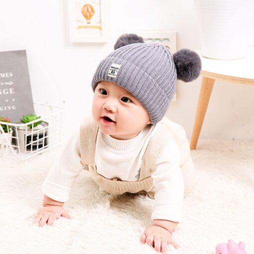 Baby Infant Hat Kids Beanie Pom Pom For Boys Girls Cap Cotton Knitted Wool Hemming Winter 7