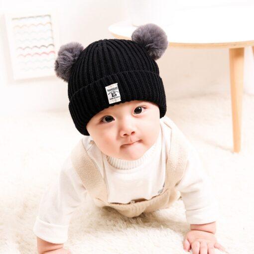 Baby Infant Hat Kids Beanie Pom Pom For Boys Girls Cap Cotton Knitted Wool Hemming Winter 8