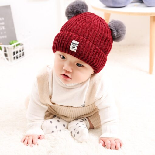 Baby Infant Hat Kids Beanie Pom Pom For Boys Girls Cap Cotton Knitted Wool Hemming Winter 9