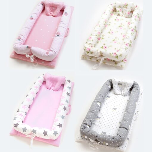 Baby Inner Baby Crib Bed 90 55cm Infant Nest Bed Portable Crib Travel Bed Cotton for 4