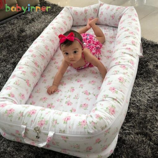 Baby Inner Baby Crib Bed 90 55cm Infant Nest Bed Portable Crib Travel Bed Cotton for