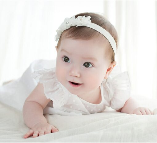 Baby Kid Girls Princess Crystal Headbands Flowers Elastic Hairband Elastic Hair Bands Head Wrap Baby Hair 2