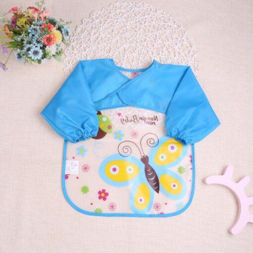 Baby Kids Cute Cartoon animals Baby Bibs Long Sleeve Apron Smock Soft Feeding Waterproof Colorful children 4