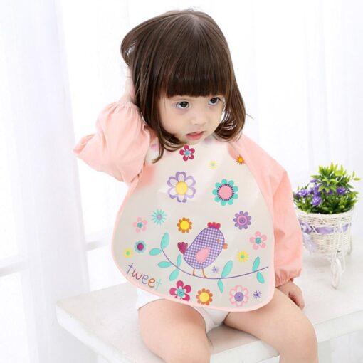 Baby Kids Cute Cartoon animals Baby Bibs Long Sleeve Apron Smock Soft Feeding Waterproof Colorful children 7