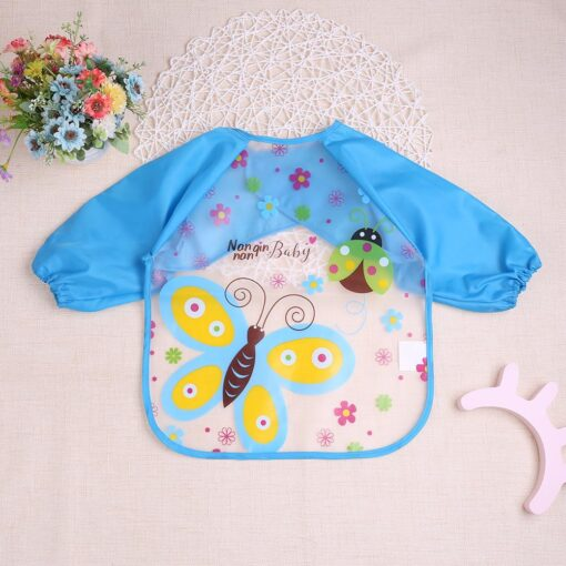 Baby Kids Cute Cartoon animals Baby Bibs Long Sleeve Apron Smock Soft Feeding Waterproof Colorful children 9
