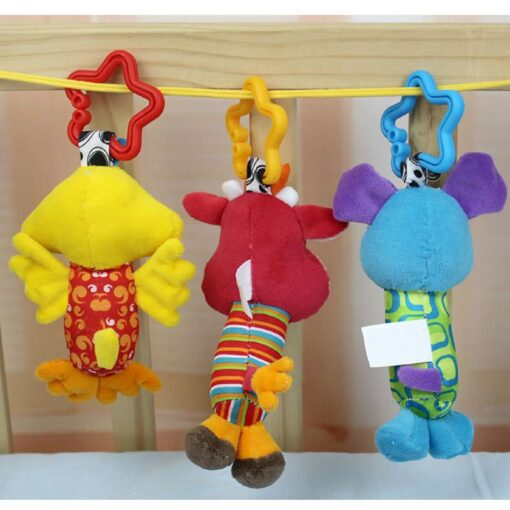 Baby Kids Rattle Toys Cartoon Animal Plush Hand Bell Baby Stroller Crib Hanging Rattles Infant Baby 4