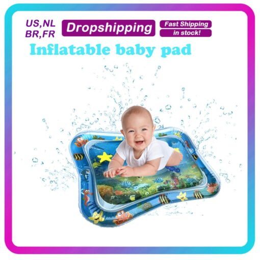 Baby Kids Water Play Mat Inflatable Infant Tummy Time Playmat Toddler for Baby Fun Activity Play
