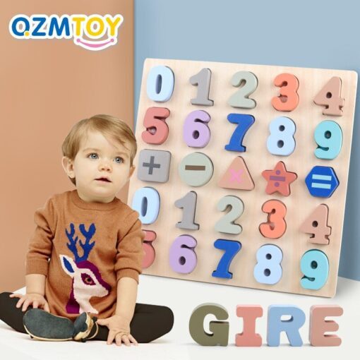 Baby Montessori Wooden Puzzle Hand Grab Board Set 3D Alphabet Digital Number Puzzle Board Wooden Educational 1