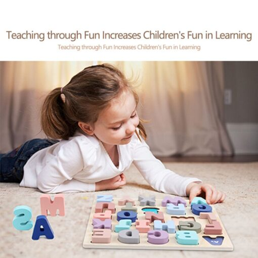 Baby Montessori Wooden Puzzle Hand Grab Board Set 3D Alphabet Digital Number Puzzle Board Wooden Educational 3